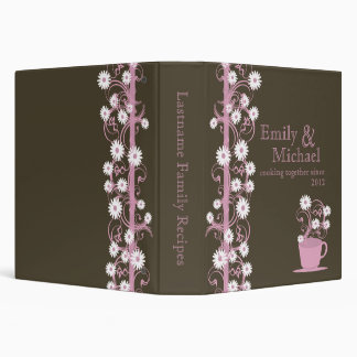 Daisy Tea Party Recipe Collection Brown and Pink Binder