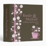 Daisy Tea Party Recipe Collection Brown and Pink 3 Ring Binders