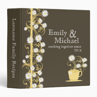 Daisy Tea Party Recipe Collection Brown and Yellow Binder