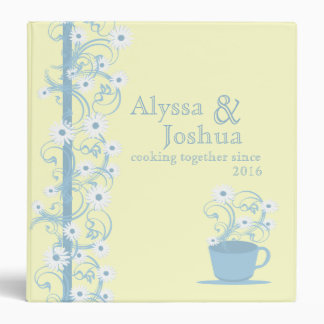 Daisy Tea Party Recipe Collection Yellow and Blue 3 Ring Binder