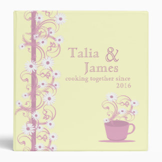 Daisy Tea Party Recipe Collection Yellow and Pink Vinyl Binder