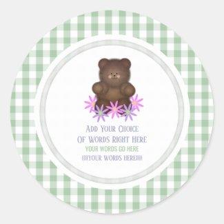 Daisy Teddy Bear And Gingham Classic Round Sticker