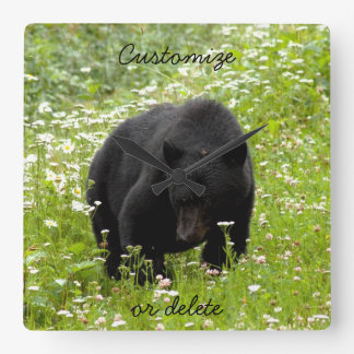 Daisy The Black Bear; Customizable Square Wall Clock