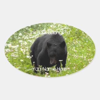 Daisy the Black Bear Oval Sticker