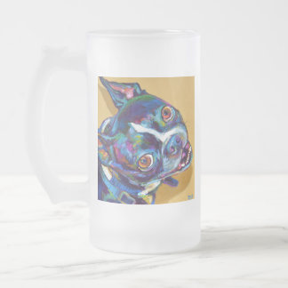 Daisy the Boston Terrier by Robert Phelps Frosted Glass Beer Mug