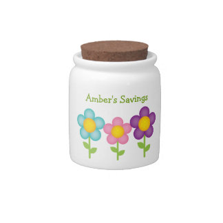 Daisy Theme Kid's Savings Jar Candy Dish