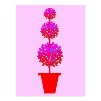 Daisy Topiary in Pinks Postcard