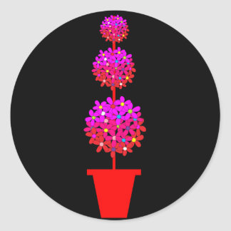 Daisy Topiary in Pinks Classic Round Sticker