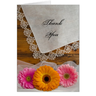 Daisy Trio and Lace Country Bridesmaid Thank You Card