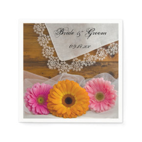 Daisy Trio  and Lace Country Wedding Paper Napkins