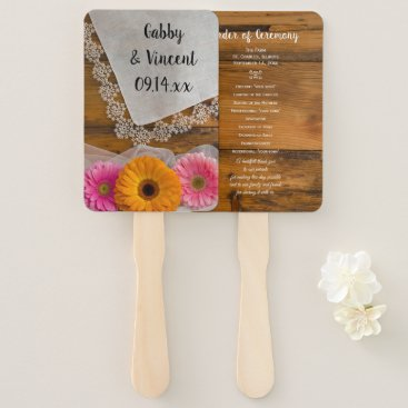 Wedding Themed Daisy Trio and Vintage Lace Country Wedding Hand Fan