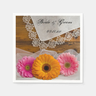Daisy Trio and Vintage Lace Country Wedding Paper Napkin