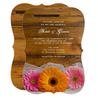 Daisy Trio Country Barn Wedding Invitation