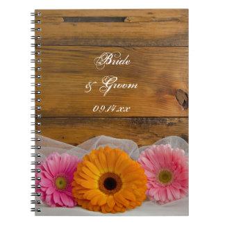 Daisy Trio Country Wedding Spiral Notebook