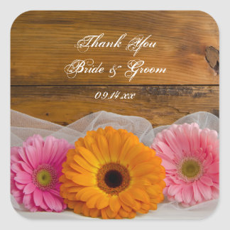 Daisy Trio Country Wedding Thank You Stickers