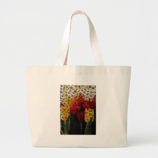 Daisy Tulip Collage Large Tote Bag