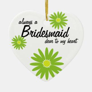 Daisy Wedding Bridesmaid Double-Sided Heart Ceramic Christmas Ornament