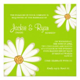 Daisy Wedding Invitation Flower White lime green