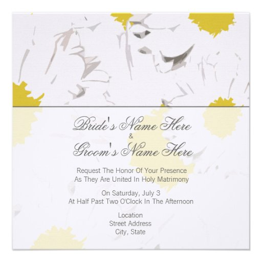 Simple Wedding Gift For Groom : Daisy Wedding Invitation - From Bride & Groom 5.25