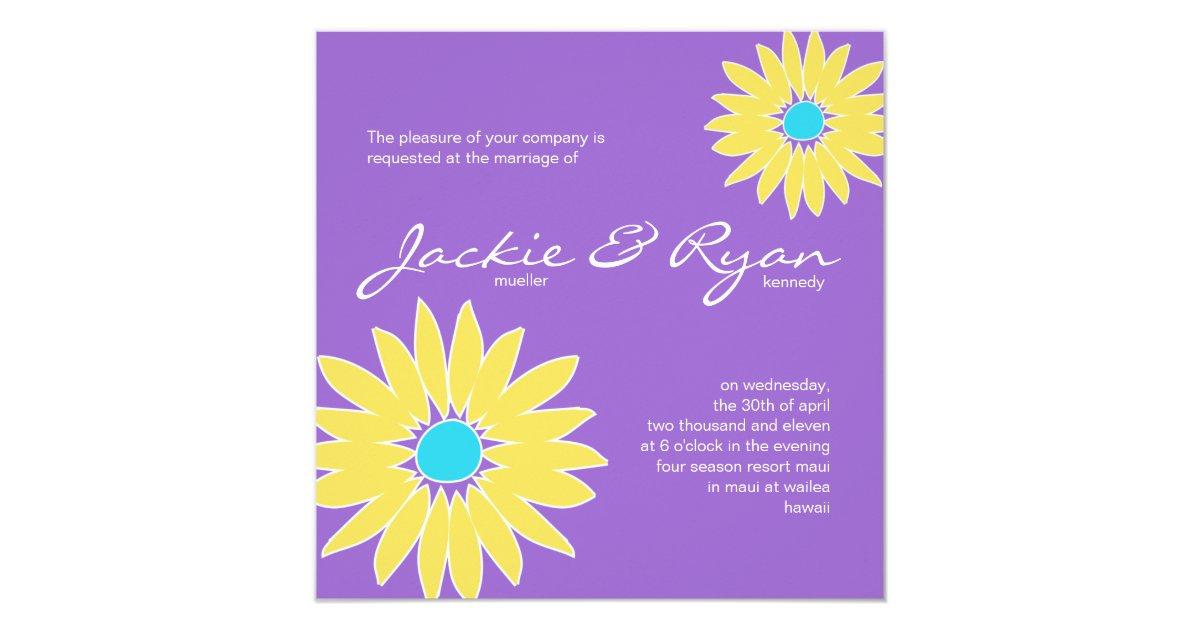 Daisy Wedding Invitation Purple Yellow Blue