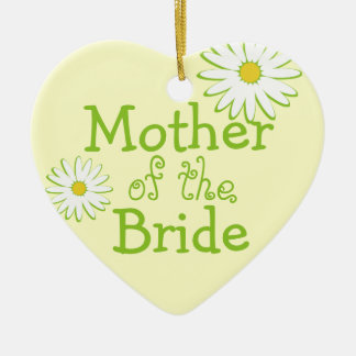 Daisy Wedding Mother of the Bride Double-Sided Heart Ceramic Christmas Ornament