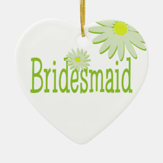 Daisy Wedding/ Mother of the Bride Double-Sided Heart Ceramic Christmas Ornament