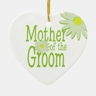 Daisy Wedding/ Mother of the Groom Double-Sided Heart Ceramic Christmas Ornament