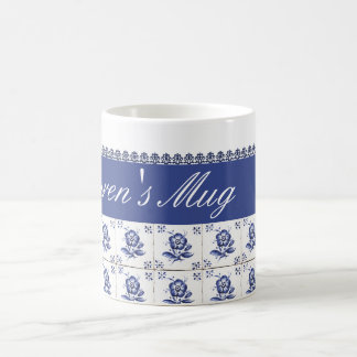 Daisy White Blue Mosaic Tile Flower Elegant Coffee Mug