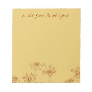 Daisy Wildflower Sepia Ink Drawing Personalized Note Pad
