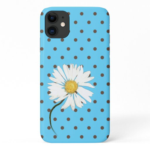 daisy with brown polka dots on aqua iPhone 11 case