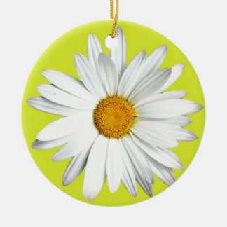 Daisy with Lime Green Background Ceramic Ornament