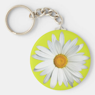 Daisy with Lime Green Background Key Chain