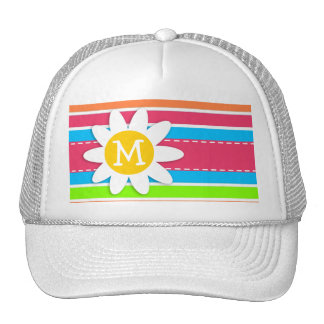 Daisy with Neon Stripes; Pink Blue Green Trucker Hat