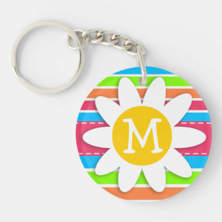 Daisy with Neon Stripes; Pink Blue Green Keychain