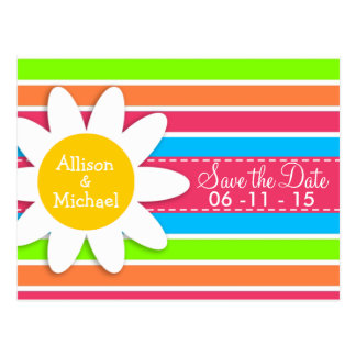 Daisy with Neon Stripes; Pink Blue Green Postcard