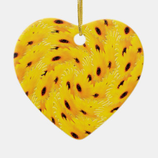 Daisy yellow ceramic ornament