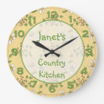 Daisy Yellow Green Country Clock Wall Clock