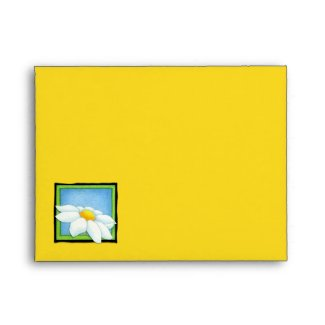 Daisy yellow green Note Card Envelope envelope