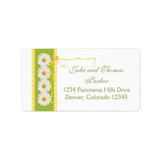 Daisy Yellow Green Ribbon Wedding Return Address Label