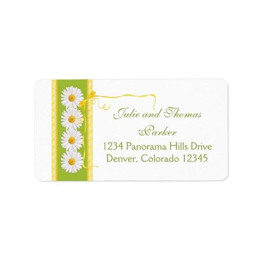 daisy yellow green ribbon wedding return address label zazzle com