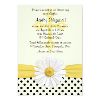 Daisy yellow ivory white polka dot First Communion Personalized Announcement