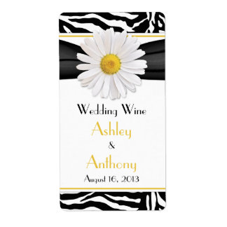 Daisy Zebra Print Wedding Wine Bottle Labels