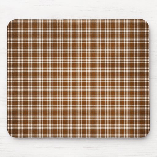 Dak Brown and White Plaid Mouse Pad