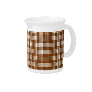Dak Brown and White Plaid Pitchers