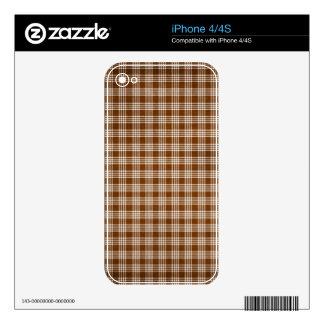 Dak Brown y tela escocesa blanca Skins Para iPhone 4