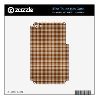 Dak Brown y tela escocesa blanca Skins Para iPod Touch 4G