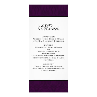 Dak Plum Damask Wedding Menu
