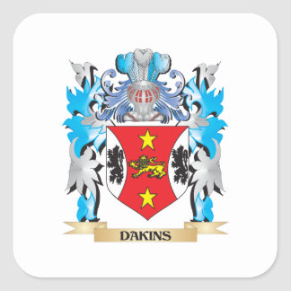 Dakins Coat of Arms - Family Crest Square Stickers