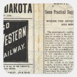 Dakota central pegatina cuadrada