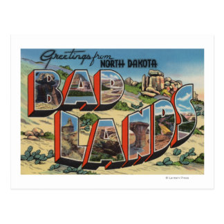 Dakota del Norte - Badlands - escenas grandes de Tarjeta Postal